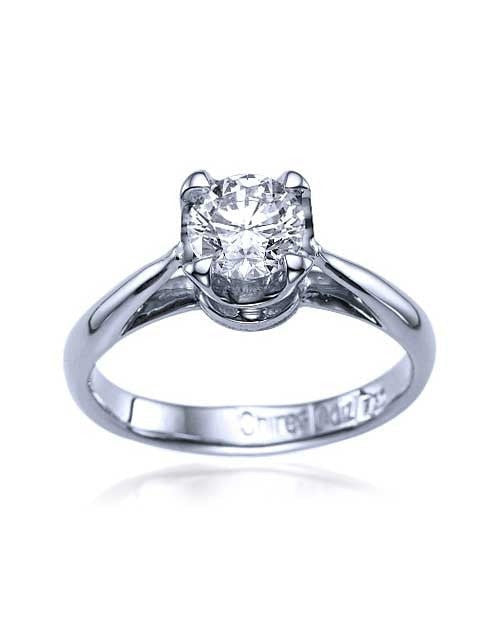 White Gold Vintage Crown Cathedral Engagement Ring - 0.75ct Diamond - Custom Made