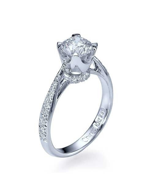 White Gold Vintage Crown Cathedral Engagement Ring Pave Set - 0.75ct Diamond - Custom Made