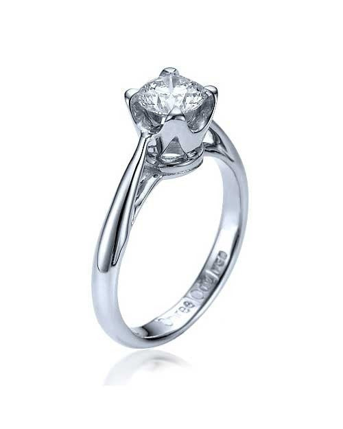 Engagement Rings White Gold Vintage Crown Cathedral Mount Diamond Ring