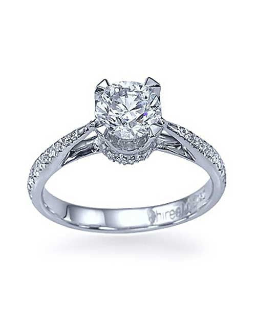 1876c4017a ... Engagement Rings White Gold Vintage Crown Cathedral Pave Set Engagement  Ring without Diamond ...