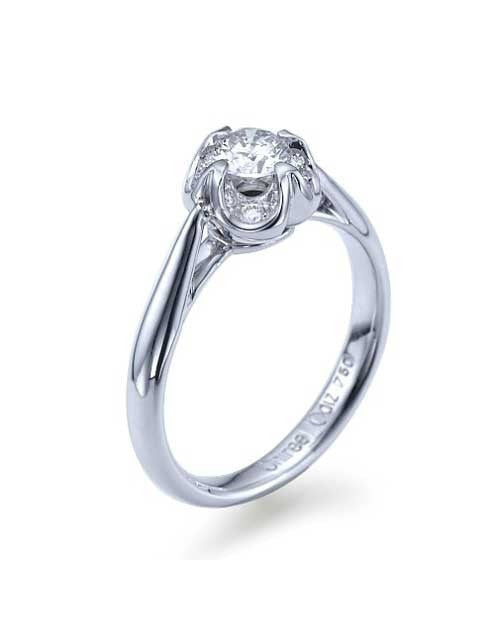 Engagement Rings White Gold Vintage Flower Engagement Ring - 0.4ct Diamond