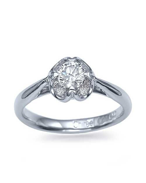 White Gold Vintage Flower Engagement Ring - 0.4ct Diamond - Custom Made