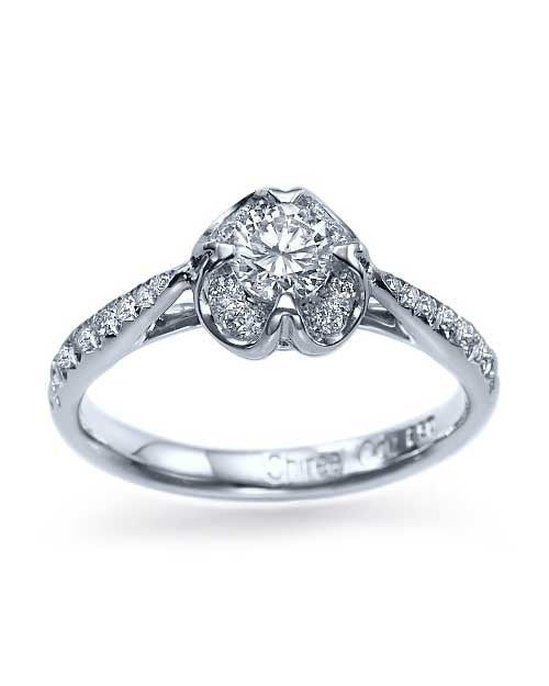 White Gold Vintage Flower Pave Set Engagement Ring - 0.4ct Diamond - Custom Made