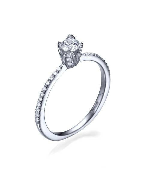 Engagement Rings White Gold Vintage Flower Pave Set Round Cut Engagement Ring - 0.3ct Diamond