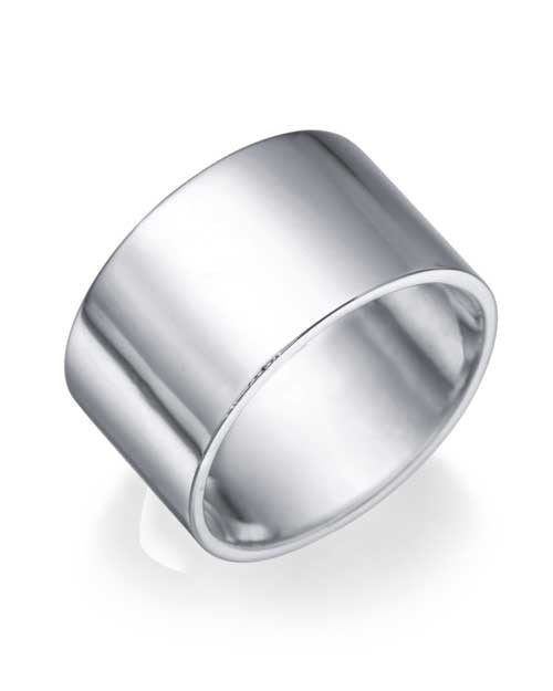 White Gold Wedding Ring - 10.9mm Flat Design - Custom Made