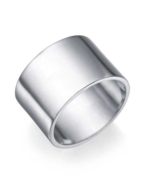 White Gold Wedding Ring - 12.2mm Flat Design - Custom Made