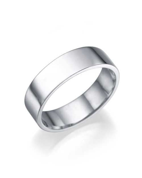 White Gold Wedding Ring - 5.2mm Flat Design - Custom Made