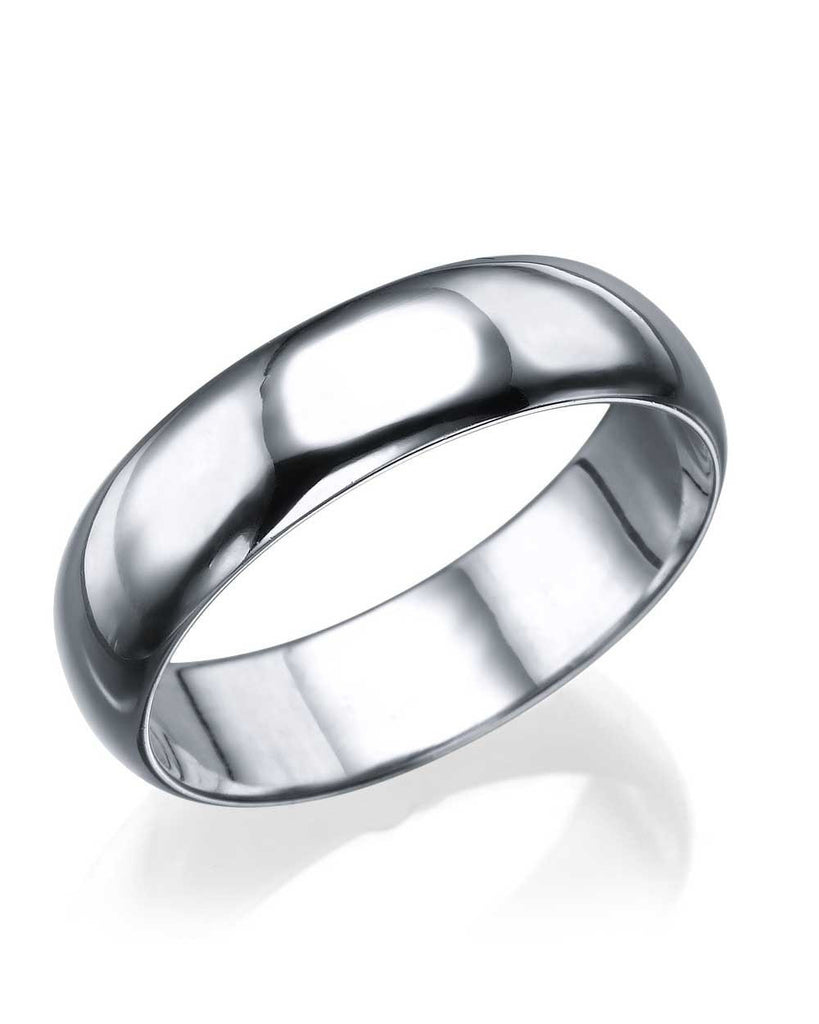 White Gold Wedding Ring - 5.6mm Rounded Plain Band - Custom Made