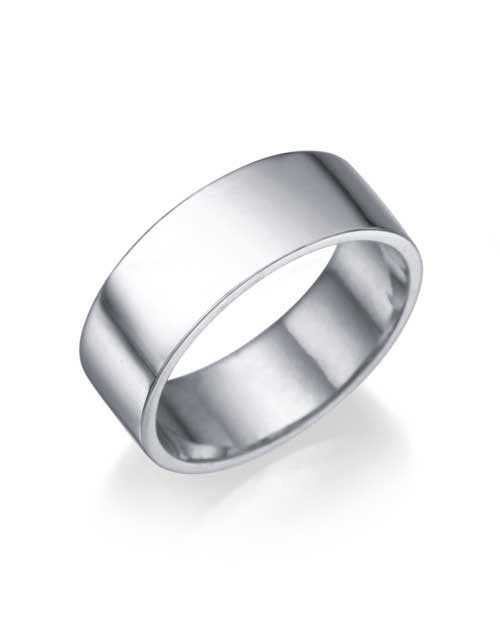 White Gold Wedding Ring - 6.4mm Flat Design - Custom Made