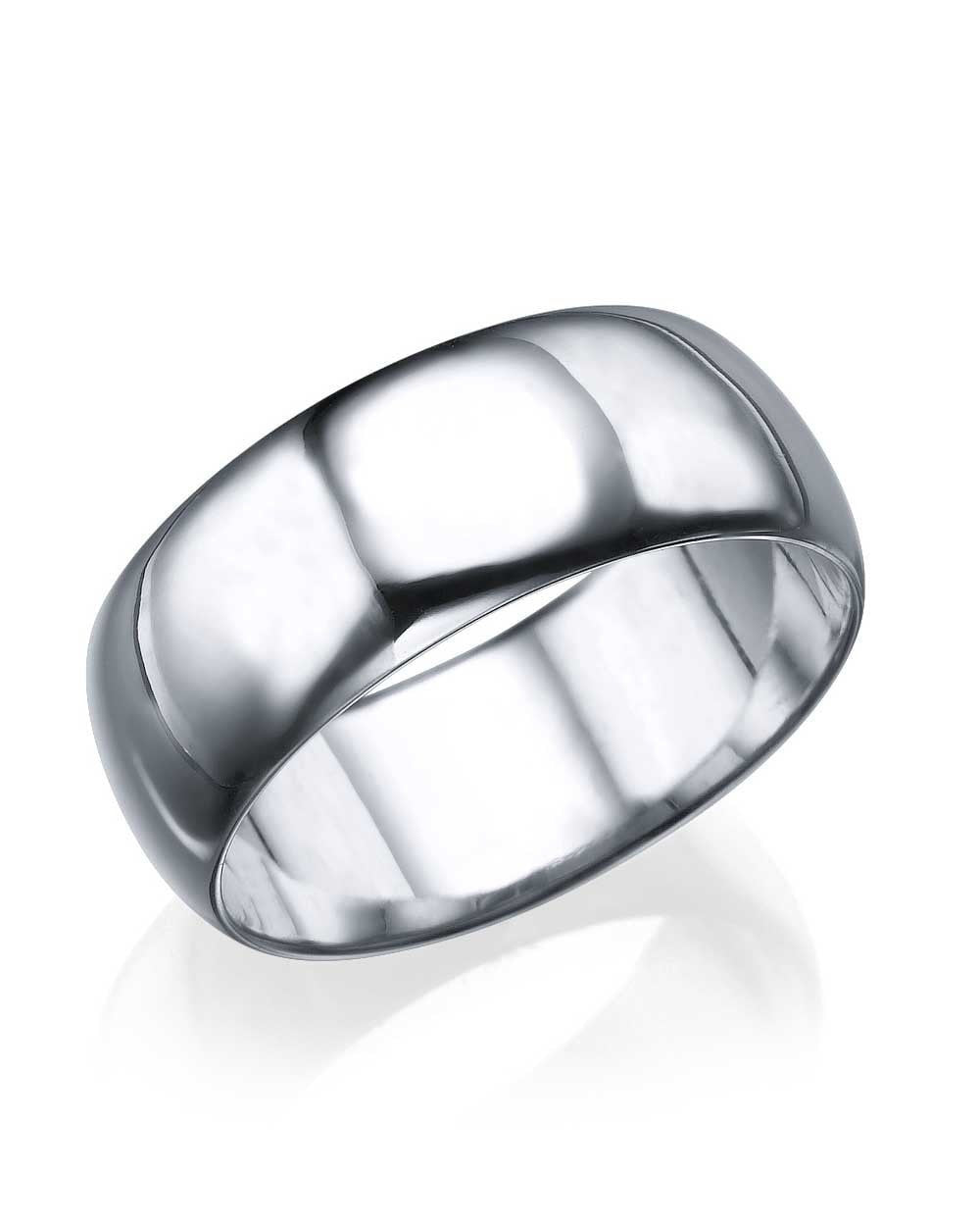 Wedding Rings White Gold Wedding Ring - 7.7mm Rounded Plain Band