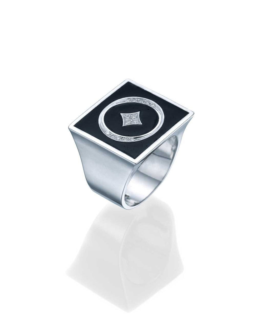 Insignia White Gold Women's Signet Ring - Black Enamel and 0.10ct Diamonds