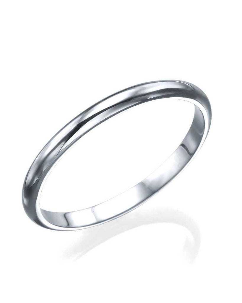 White Gold Womens Wedding Ring - 2mm Rounded Plain Wedding Band - Custom Made
