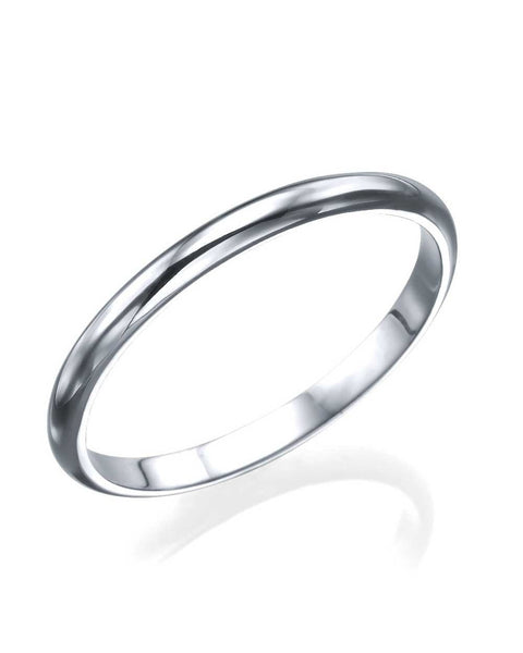 Wedding Rings White Gold Womens Wedding Ring - 2mm Rounded Plain Wedding Band