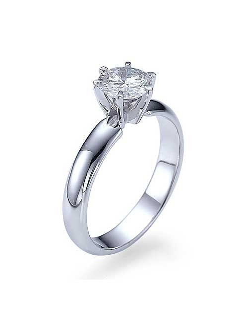 Engagement Rings Wide Band 6 Prong Round White Gold Engagement Rings - 1ct Diamond