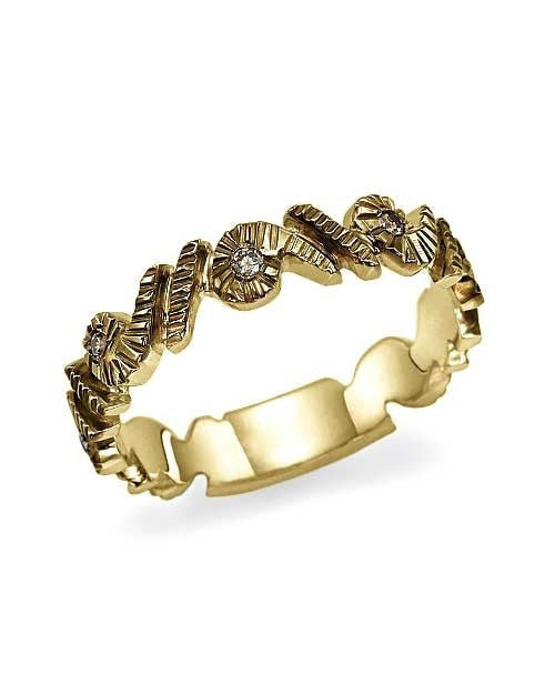 Yellow Gold 0.06ct Champagne Diamond Wedding Band - Shiree Odiz