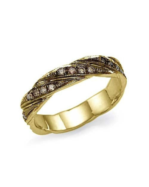 Yellow Gold 0.18ct Champagne Diamond Wedding Ring - Shiree Odiz