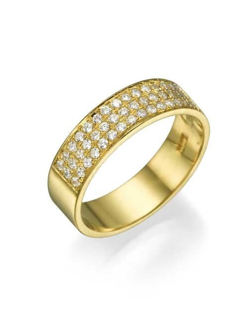 Yellow Gold 0.36ct Diamond Semi-Eternity Wedding Ring - Custom Made