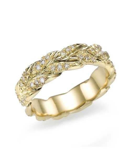 Wedding Rings Yellow Gold 0.50ct Diamond Wedding Band - Golden Leaves Design