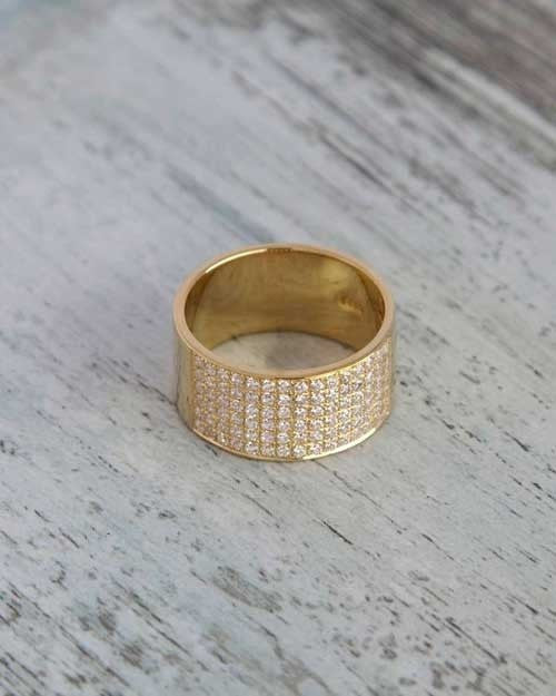Yellow Gold 0.72ct Diamond Semi-Eternity Wedding Ring - Custom Made