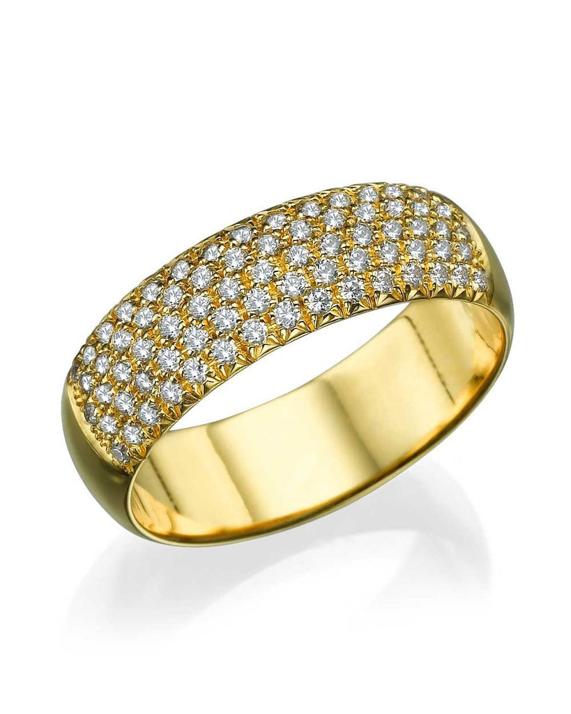 Yellow Gold 0.73ct Diamond Semi-Eternity Wedding Ring - Custom Made