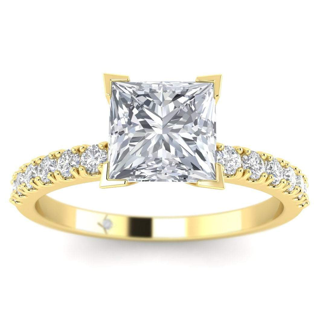 Yellow Gold 2 00 Carat D Si1 Princess Cut Diamond Engagement Ring Micro Pave 4 Prong Square Shiree Odiz