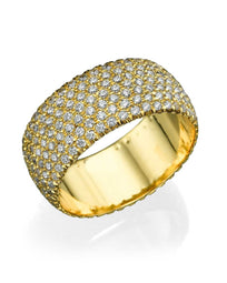 Wedding Rings Yellow Gold 2.80ct Diamond Full-Eternity Pave Wedding Band Ring
