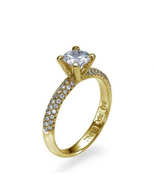 Yellow Gold 3-Row Pave Set 4-Prong Engagement Ring - 0.5ct Diamond - Custom Made