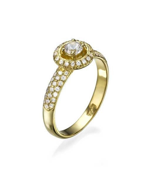 Engagement Rings Yellow Gold 3-Row Pave Set Halo Round Engagement Ring - 0.3ct Diamond