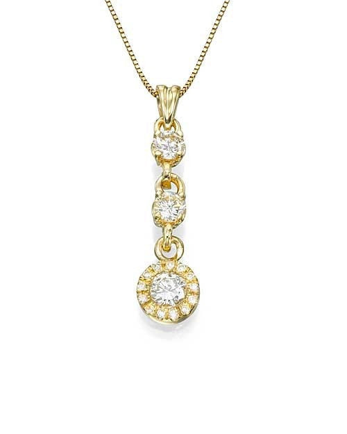 Pendants Yellow Gold 3-Stone Halo Diamond Pendant Necklace - 'Golden Rings' Design