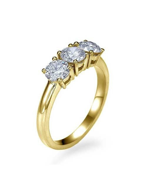 Yellow Gold 3-Stone Trilogy Classic Engagement Ring - 0.3ct Diamond - Custom Made