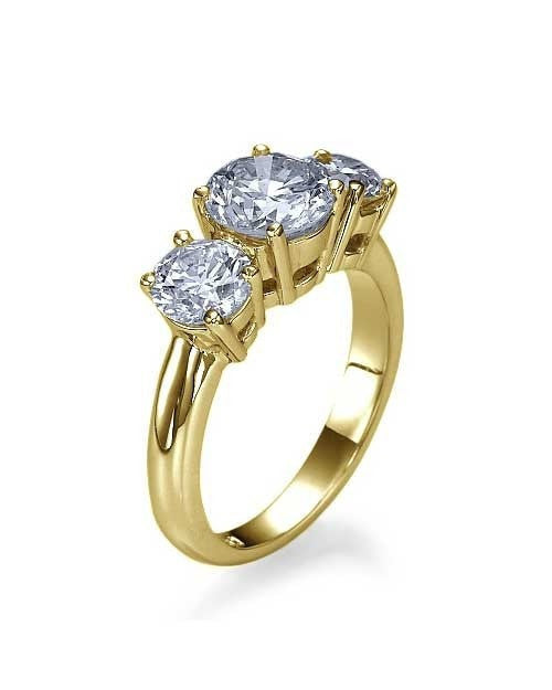 Engagement Rings Yellow Gold 3-Stone Trilogy Round Diamond Semi Mounts