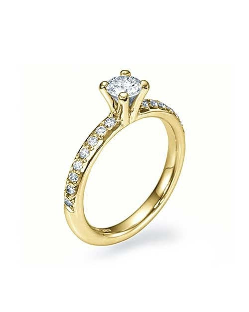Engagement Rings Yellow Gold 4-Prong French-Cut Pave Set Engagement Ring without Diamond