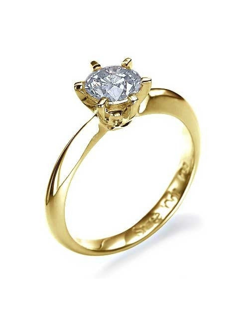 Engagement Rings Yellow Gold 6 Prong Round Knife-Edge Mount Diamond Rings