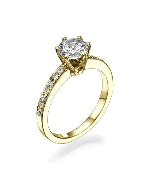 Engagement Rings Yellow Gold 6-Prong Round Pave Semi Mount Classic Engagement Rings