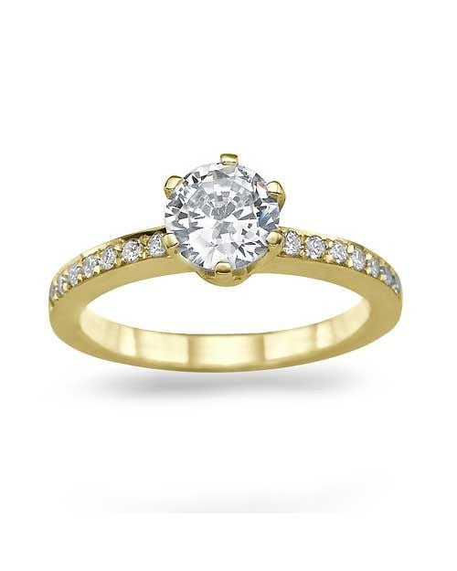 engagement rings yellow gold 6 prong round pave semi mount classic engagement rings - Classic Wedding Rings