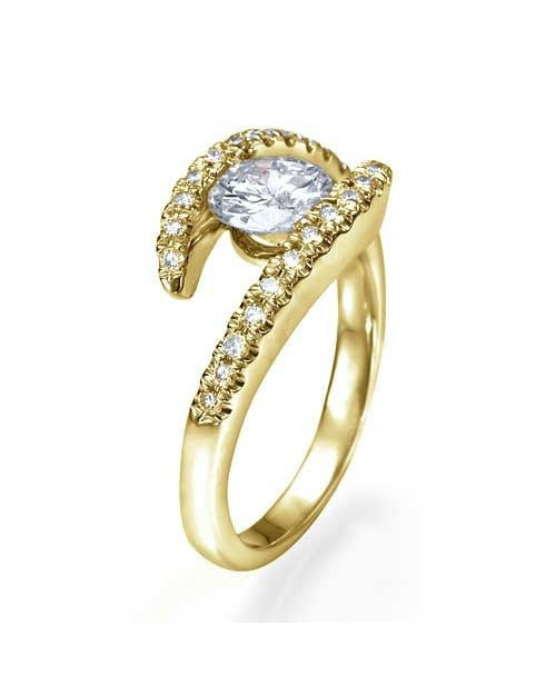 Engagement Rings Yellow Gold Bypass Tension Round Cut Engagement Ring - 1ct Diamond