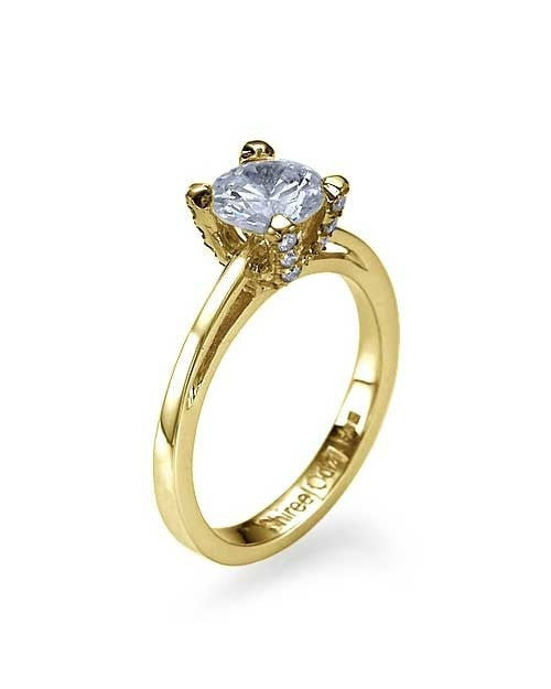Engagement Rings Yellow Gold Cathedral Pave Set 4-Prong Semi Mount Ring Setting