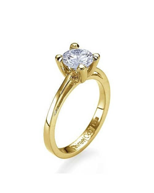 Engagement Rings Yellow Gold Cathedral Round 4-Prong Diamond Semi Mount Setting