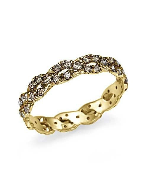 Yellow Gold Champagne Diamond Infinity Eternity Wedding Ring by