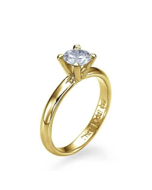 Engagement Rings Yellow Gold Classic 4-Prong Round Cut Engagement Ring - 0.5ct Diamond
