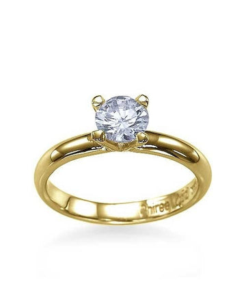 Engagement Rings Yellow Gold Classic 4-Prong Round Cut Semi Mount Ring Setting