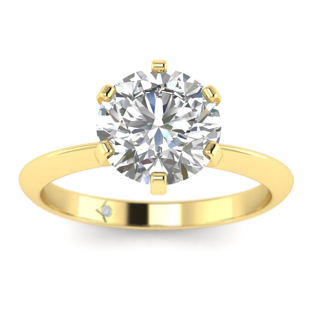 EN-SO-14-NAT-D-SI1-EX Yellow Gold Classic 6-prong Solitaire Round Diamond Engagement Ring - 0.60 carat D/SI1 100% Natural