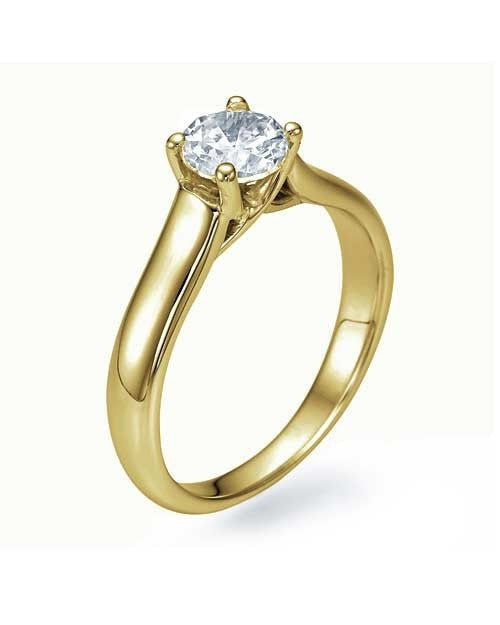 Engagement Rings Yellow Gold Classic Cross Prong Flat Solitaire Engagement Ring - 0.75ct Diamond