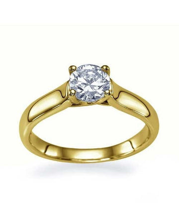 Engagement Rings Yellow Gold Classic Cross Prong Flat Solitaire Semi Mount Settings