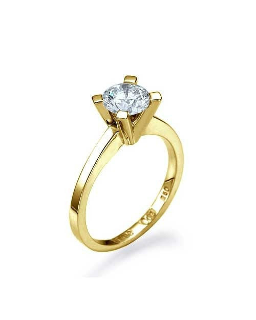 Yellow Gold Classic Solitaire Engagement Ring 4-Prong Round -  0.45ct Natural Diamond - Custom Made