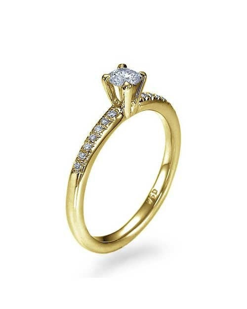 Yellow Gold Classic Thin 4-Prong Engagement Ring - 0.2ct Diamond - Custom Made