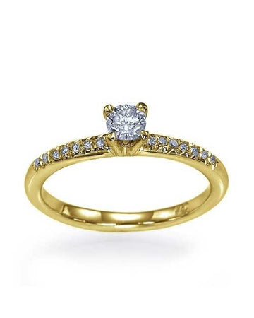 Engagement Rings Yellow Gold Classic Thin 4-Prong Engagement Rings without Diamond