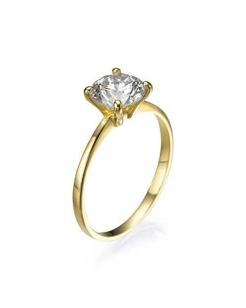Yellow Gold Classic Thin 4-Prong Round Engagement Ring - 1ct Diamond - Custom Made