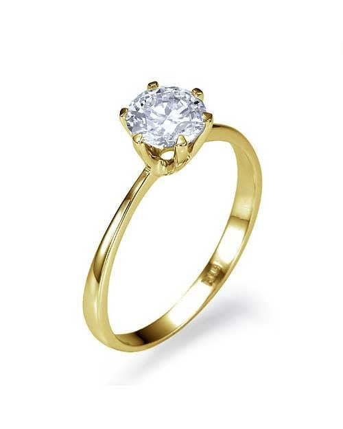 Engagement Rings Yellow Gold Classic Thin 6-Prong Round Engagement Ring - 1ct Diamond