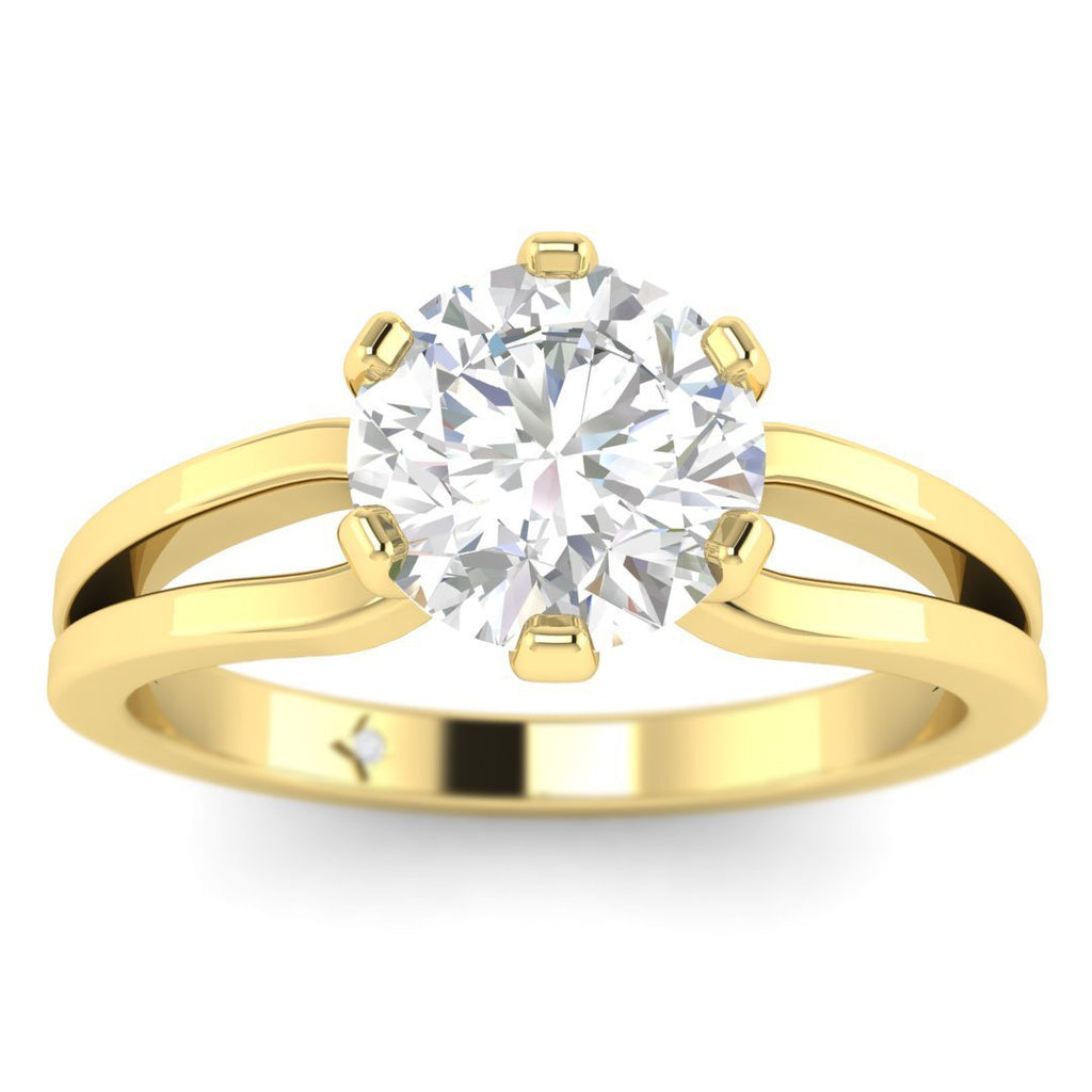 EN-SO-14-CE-D-SI1-EX Yellow Gold Designer Split Shank 6-Prong Round Diamond Engagement Ring - 1.00 carat D/SI1 Clarity Enhanced